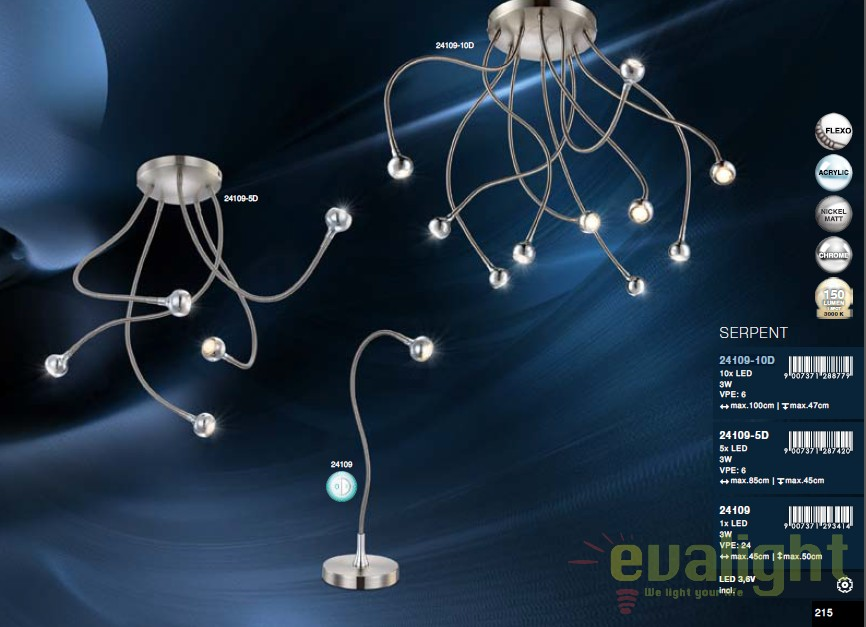 Plafoniera Globo Lighting : Plafoniera cu 10 brate flexibile led serpent 24109 10d gl corpuri