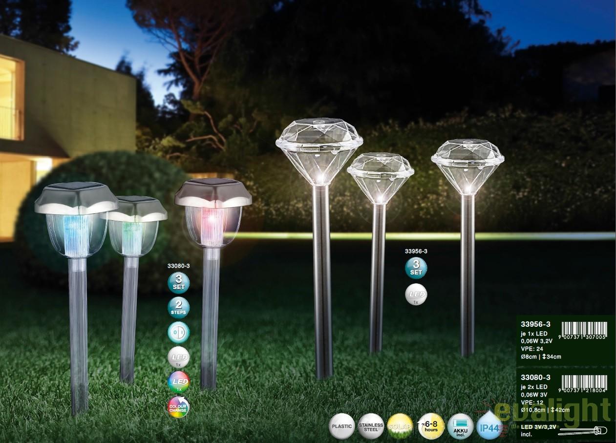 Set Lampi Solare.Set De 3 Lampi Solare De Gradina Cu Iluminat Led Ip44 33956 3 Gl