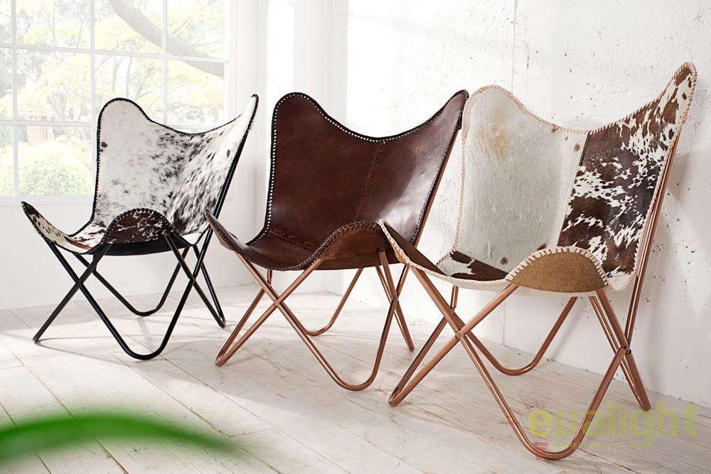 fotoliu confortabil design fluture din piele naturala butterfly alb negru a 36272 vc corpuri. Black Bedroom Furniture Sets. Home Design Ideas