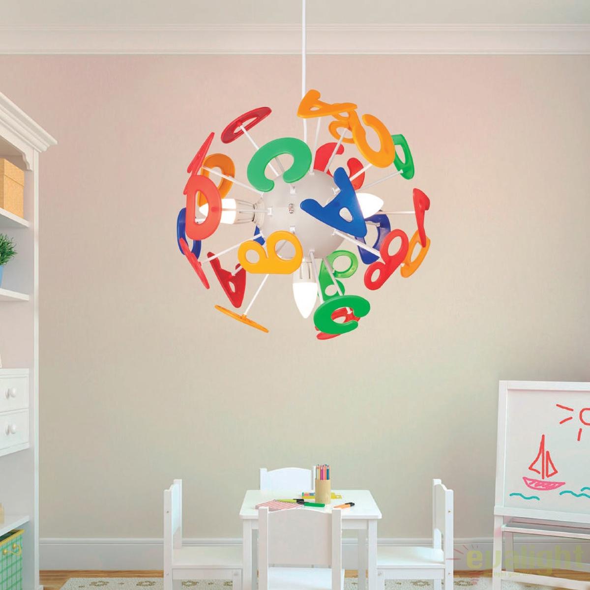 lustra moderna pendul camera copii letras 122003 su corpuri de iluminat lustre aplice. Black Bedroom Furniture Sets. Home Design Ideas