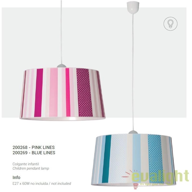 lustra moderna pendul camera copii pink lines 200268 su corpuri de iluminat lustre aplice. Black Bedroom Furniture Sets. Home Design Ideas