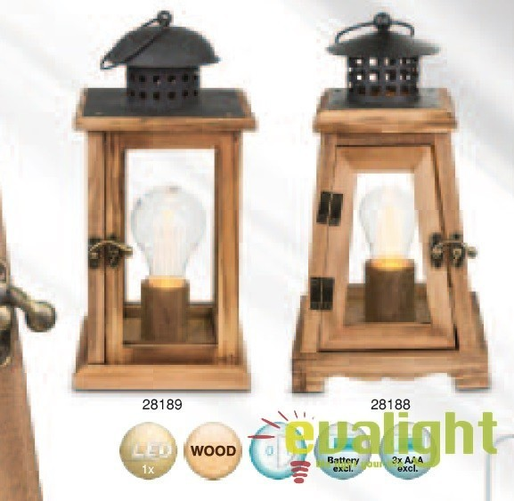 Felinar Decorativ Cu Iluminat Led Si Baterii Fanal 28189