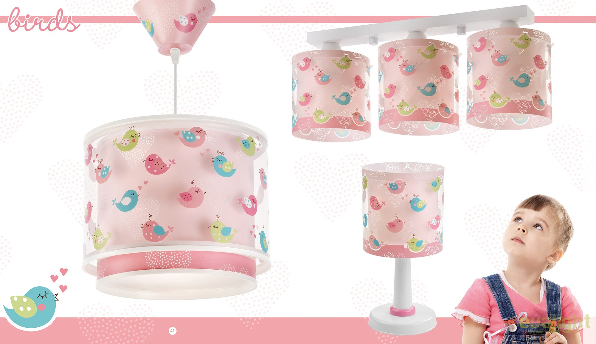 lustra camera copii roz cu pasari imprimate birds 60292 db corpuri de iluminat lustre aplice. Black Bedroom Furniture Sets. Home Design Ideas