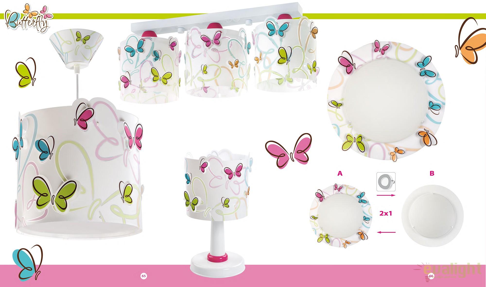 lustra camera copii cu fluturi colorati butterfly 62142 db corpuri de iluminat lustre aplice. Black Bedroom Furniture Sets. Home Design Ideas
