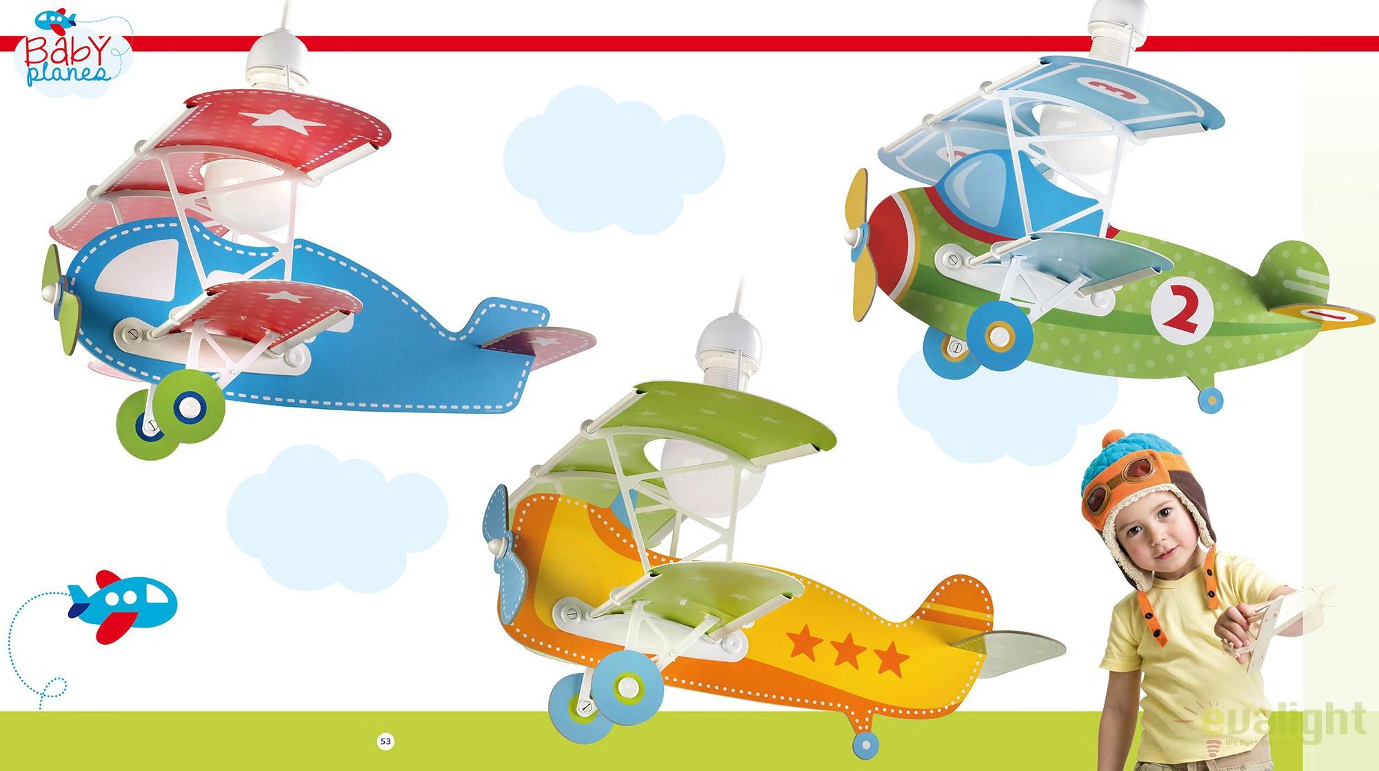 lustra camera copii de dimensiuni mari in forma de avion baby planes albastru 54002 db. Black Bedroom Furniture Sets. Home Design Ideas