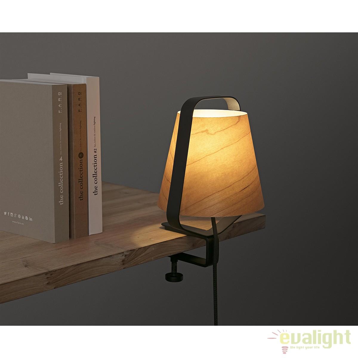 Veioza clip lampa lemn design deosebit stood 29845 faro barcelona corpuri de iluminat - Lampara estanteria ...