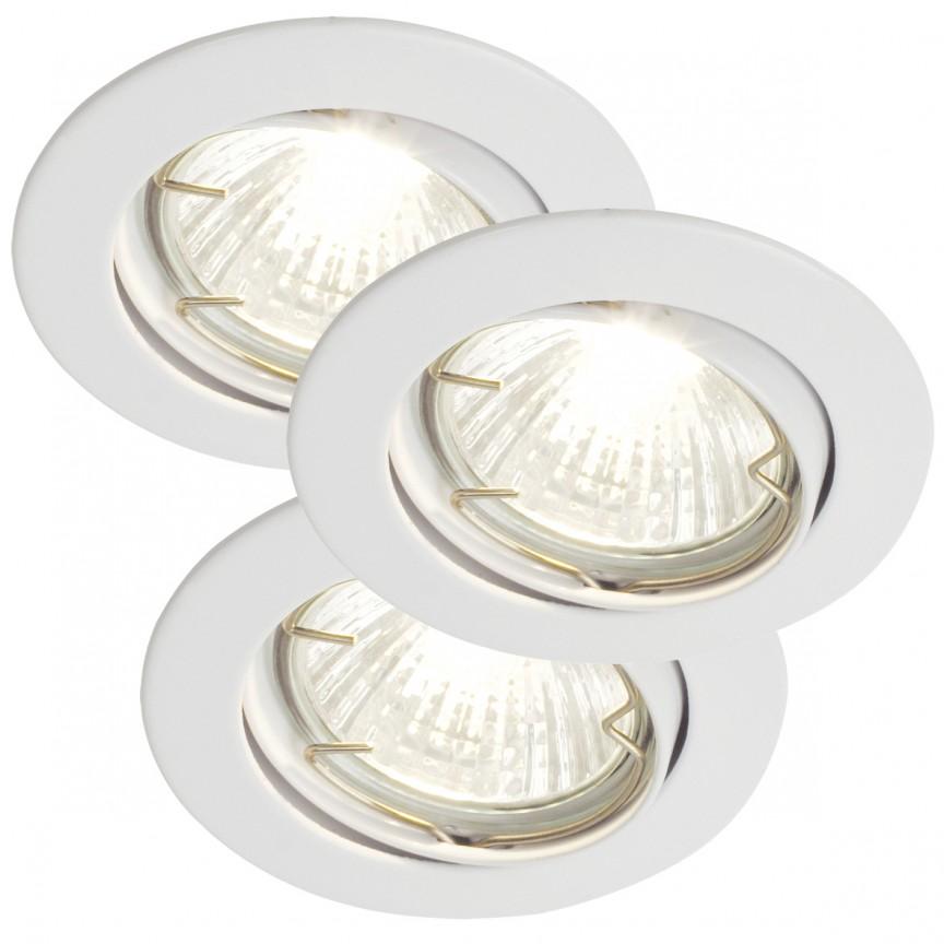 Set 3 spoturi orientabile incastrate Recess alb 20069901NL, Spoturi incastrate, aplicate - tavan / perete, Corpuri de iluminat, lustre, aplice a