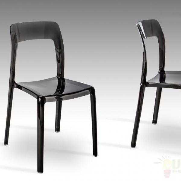 Scaun modern din policarbonat negru, LINA 676129, Scaune dining , Corpuri de iluminat, lustre, aplice a
