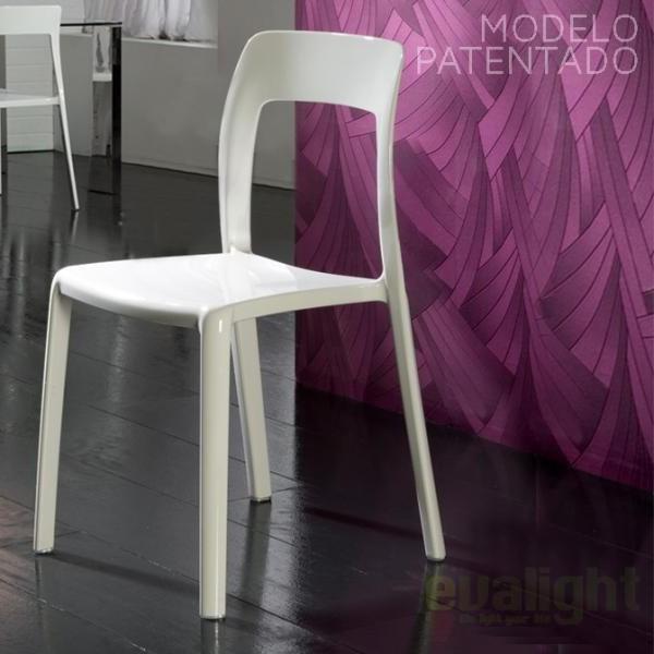 Scaun modern din policarbonat alb, LINA 676134, Scaune dining , Corpuri de iluminat, lustre, aplice a