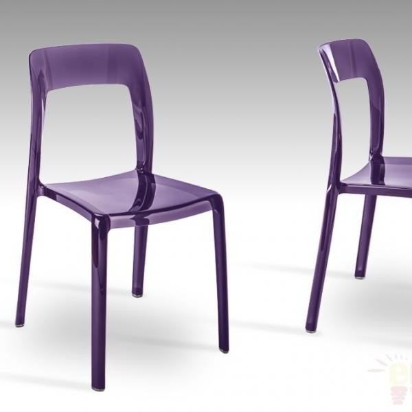 Scaun modern din policarbonat violet, LINA 676152, Scaune dining , Corpuri de iluminat, lustre, aplice a