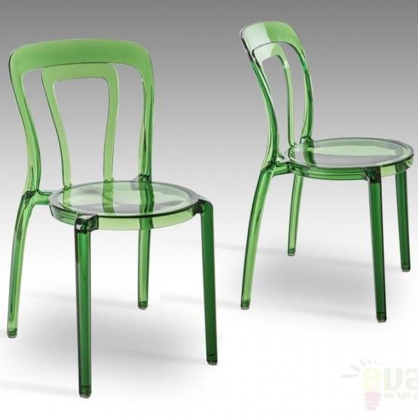 Scaun modern din policarbonat verde, MATI 748346, Scaune dining , Corpuri de iluminat, lustre, aplice a