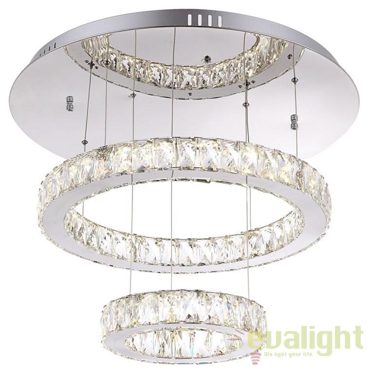 Lustra moderna cu 2 pendule reglabile, diam.60cm, cristal K5, telecomanda, LED AMUR 49350D2 GL, Lampi LED si Telecomanda, Corpuri de iluminat, lustre, aplice a