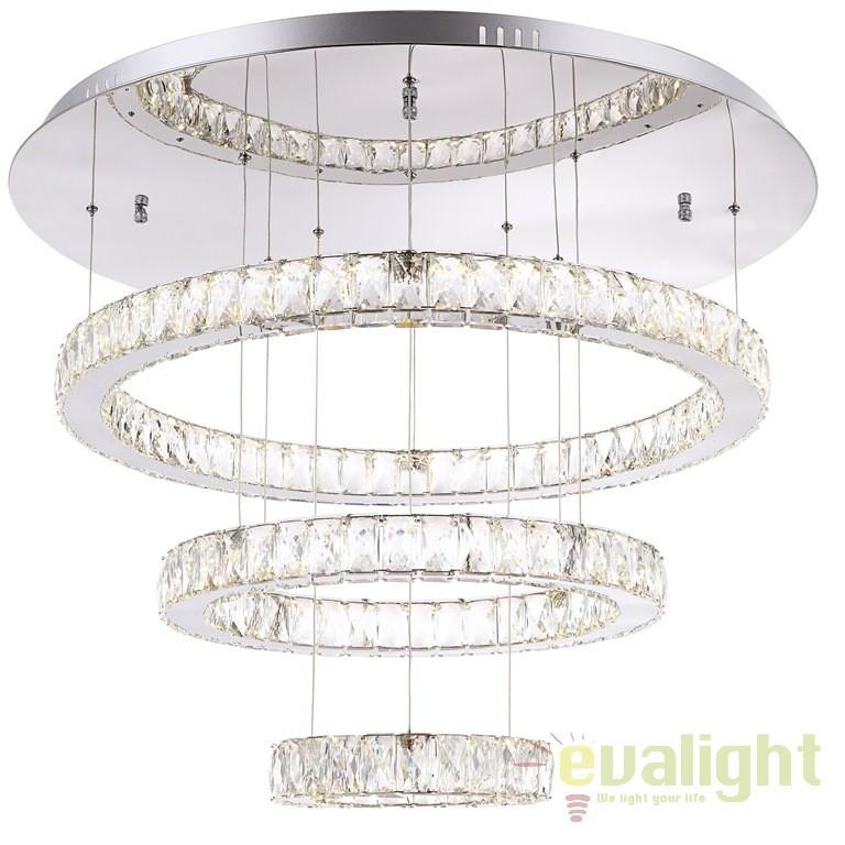 Lustra moderna cu 3 pendule reglabile, diam.80cm, cristal K5, telecomanda, LED AMUR 49350D3 GL, Lampi LED si Telecomanda, Corpuri de iluminat, lustre, aplice a