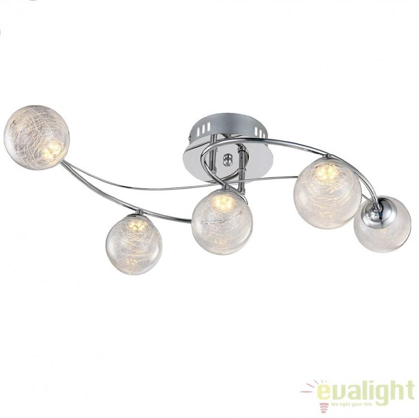 Plafoniera cu 5 spoturi cu iluminat LED, L-63x40cm, Sakeka 56864-5 GL, Spoturi - iluminat - cu 5 si 6 spoturi, Corpuri de iluminat, lustre, aplice a