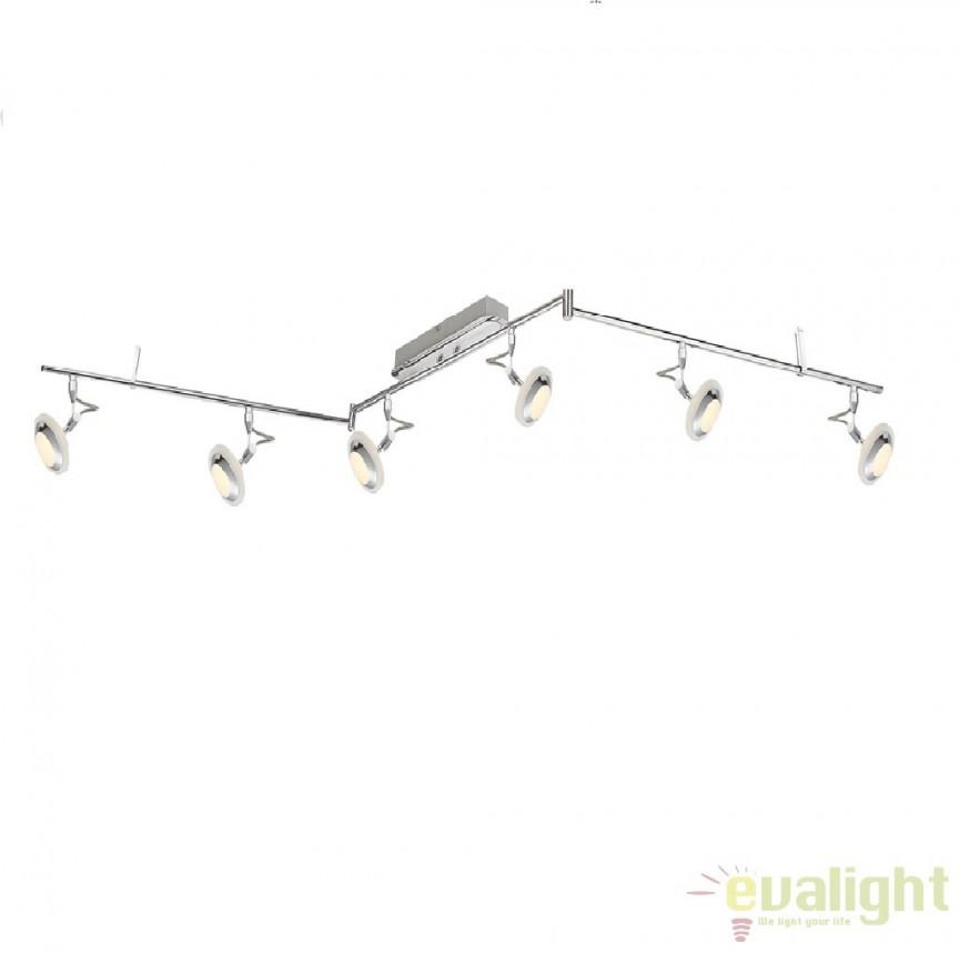Plafoniera cu 6 spoturi cu iluminat LED, L-210 cm, Tommy 56955-6 GL, Spoturi - iluminat - cu 5 si 6 spoturi, Corpuri de iluminat, lustre, aplice a
