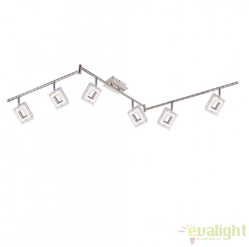 Plafoniera cu 6 spoturi cu iluminat LED, L-170cm, Kerstin 56138-6 GL, Spoturi - iluminat - cu 5 si 6 spoturi, Corpuri de iluminat, lustre, aplice a