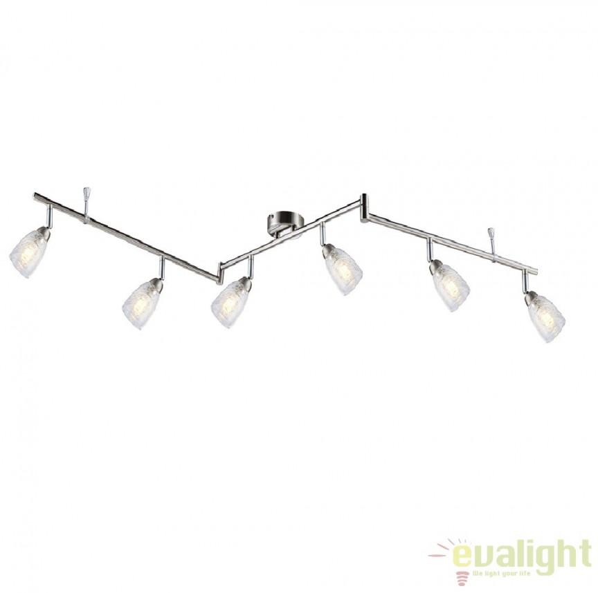 Plafoniera cu 6 spoturi cu iluminat LED, L-145cm, Crash 56023-6 GL, Spoturi - iluminat - cu 5 si 6 spoturi, Corpuri de iluminat, lustre, aplice a