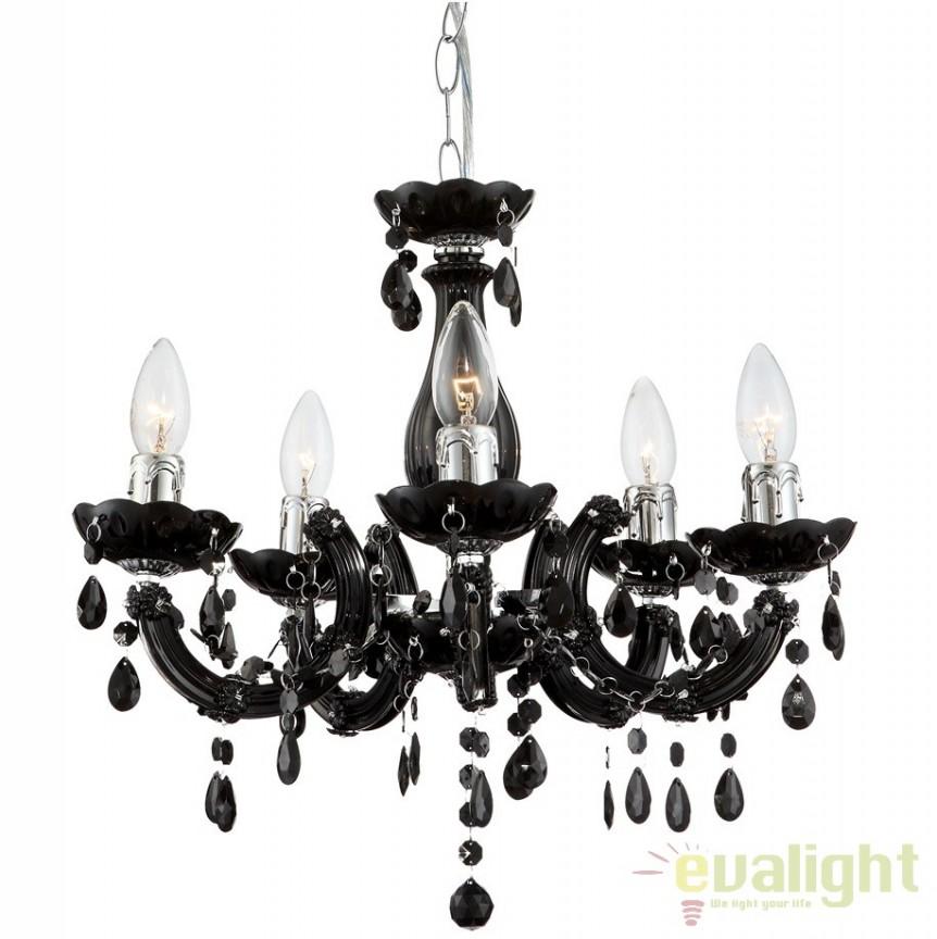Candelabru modern negru cu 5 brate, diam.44cm Cuimbra II 63110-5 GL, Candelabre, Lustre moderne, Corpuri de iluminat, lustre, aplice a