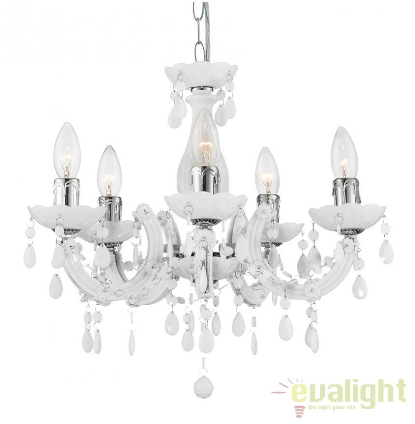 Candelabru modern alb cu 5 brate, diam.44cm Cuimbra II 63113-5 GL, Candelabre, Lustre moderne, Corpuri de iluminat, lustre, aplice a