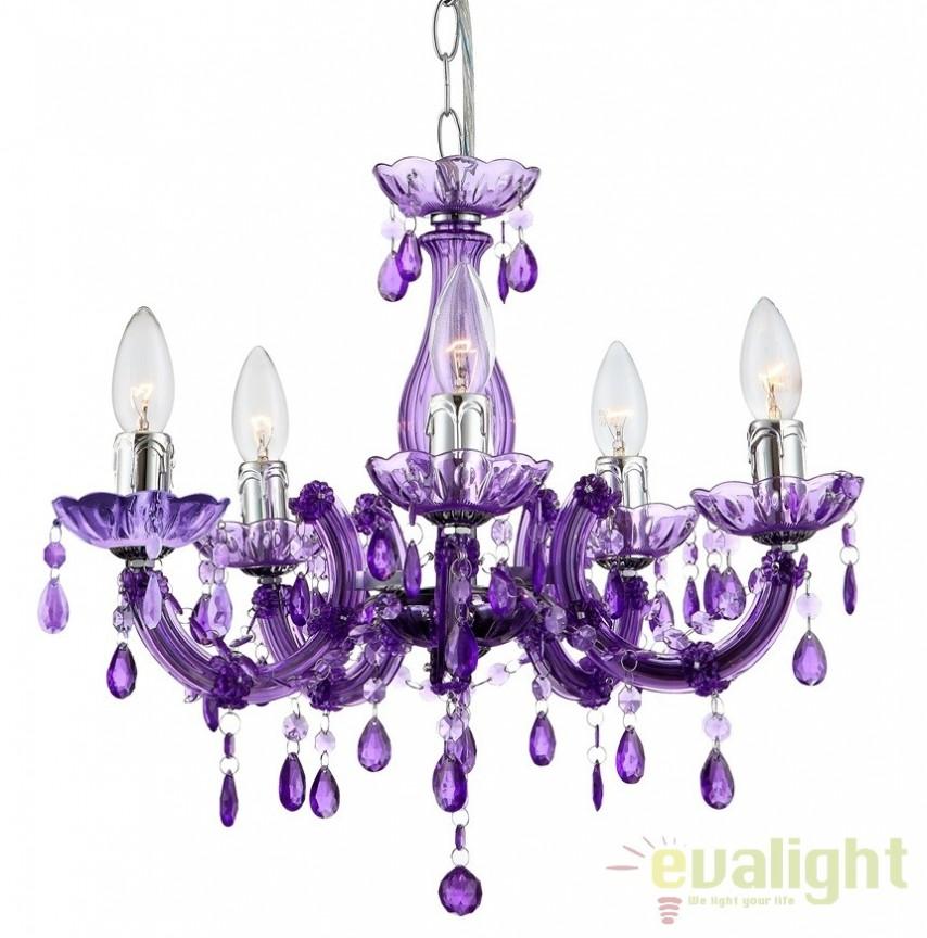 Candelabru modern violet cu 5 brate, diam.44cm Cuimbra II 63115-5 GL, Candelabre, Lustre moderne, Corpuri de iluminat, lustre, aplice a