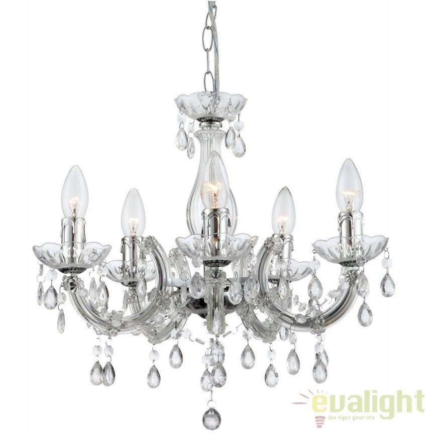 Candelabru modern transparent cu 5 brate, diam.44cm Cuimbra II 63116-5 GL, Candelabre, Lustre moderne, Corpuri de iluminat, lustre, aplice a