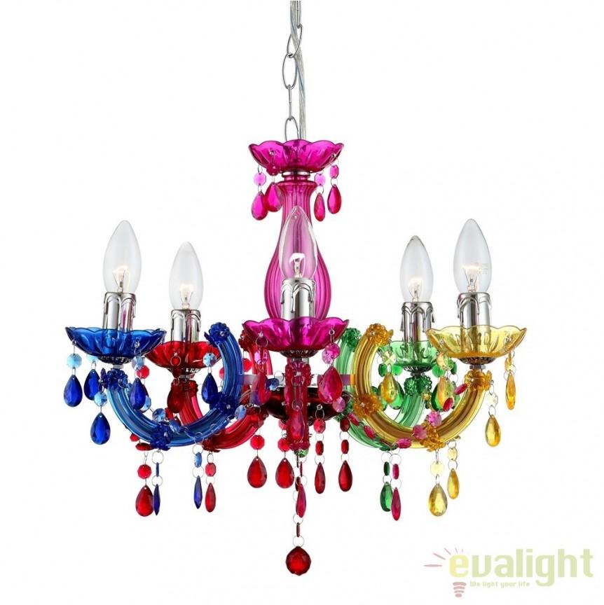 Candelabru modern multicolor cu 5 brate, diam.44cm Cuimbra II 63118-5 GL, Candelabre, Lustre moderne, Corpuri de iluminat, lustre, aplice a