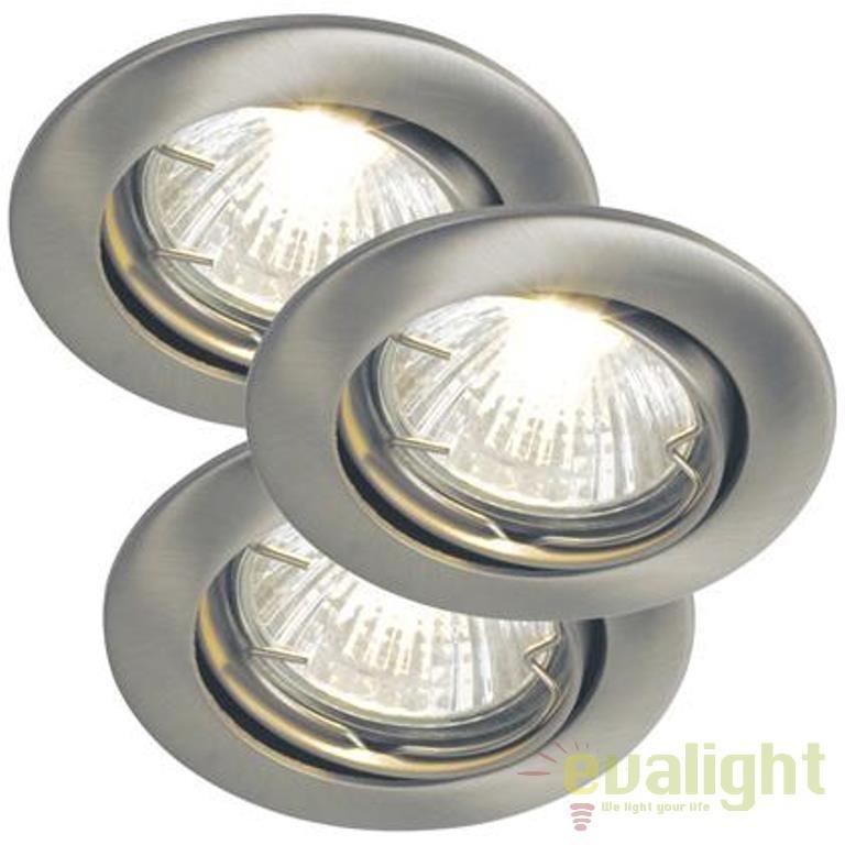 Set de 3 spoturi brushed steel, incastrabile pt. tavan fals, directionabile, diam.6,2cm, Galisto 3-Kit 15740132 NL , Spoturi incastrate, aplicate - tavan / perete, Corpuri de iluminat, lustre, aplice a