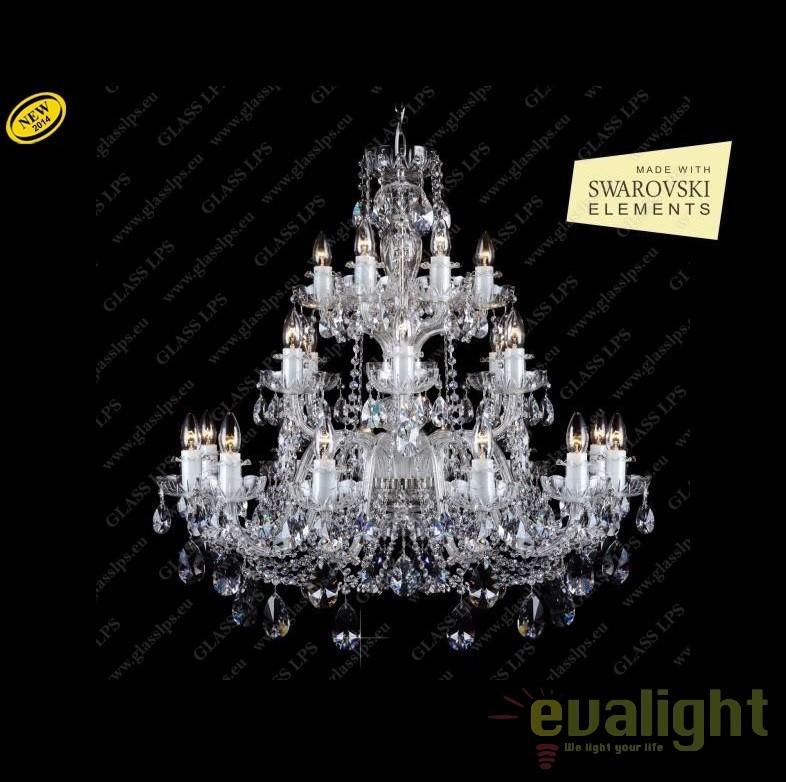 Lustra eleganta cu 24 brate, cristal Swarovski, L11 009/24/1-A SWAROVSKI ELEMENTS, HD; Ni, Lustre Imperial Cristal Bohemia,  a