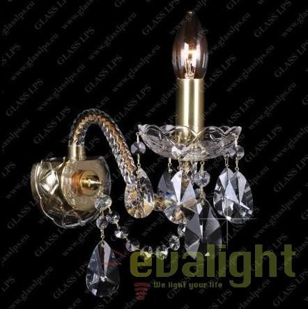 Aplica de perete cu 1 brat, cristal Bohemia N21 120/01/1-A; GOLD, Aplice Cristal Bohemia, Corpuri de iluminat, lustre, aplice, veioze, lampadare, plafoniere. Mobilier si decoratiuni, oglinzi, scaune, fotolii. Oferte speciale iluminat interior si exterior. Livram in toata tara.  a