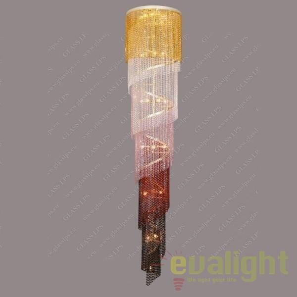 Lustra spirala lungime 320cm, cristal Bohemia L15 512/36/6 color mix, Pendule Cristal Bohemia, Corpuri de iluminat, lustre, aplice, veioze, lampadare, plafoniere. Mobilier si decoratiuni, oglinzi, scaune, fotolii. Oferte speciale iluminat interior si exterior. Livram in toata tara.  a