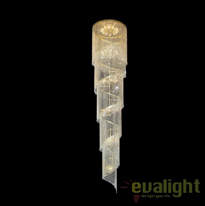Lustra spirala XXXL lungime 1000cm, cristal Bohemia L15 512/192/3, Pendule Cristal Bohemia, Corpuri de iluminat, lustre, aplice, veioze, lampadare, plafoniere. Mobilier si decoratiuni, oglinzi, scaune, fotolii. Oferte speciale iluminat interior si exterior. Livram in toata tara.  a
