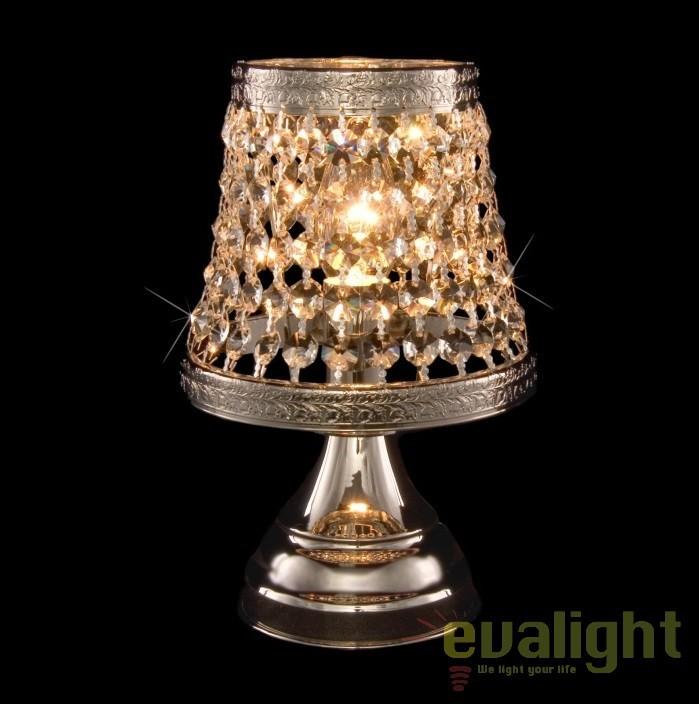 Veioza, lampa de masa LUX cristal Bohemia S35 369/01/6; Ni, Veioze Cristal, Corpuri de iluminat, lustre, aplice, veioze, lampadare, plafoniere. Mobilier si decoratiuni, oglinzi, scaune, fotolii. Oferte speciale iluminat interior si exterior. Livram in toata tara.  a