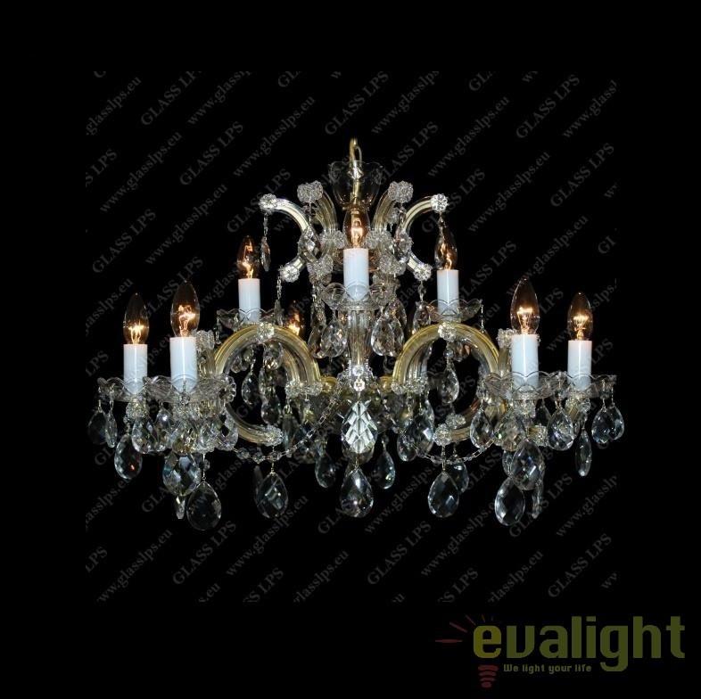 Lustra Maria Theresa cu 9 brate, cristal Bohemia diam.70cm, L14 232/09/1; F wide, Lustre Cristal Bohemia, Corpuri de iluminat, lustre, aplice, veioze, lampadare, plafoniere. Mobilier si decoratiuni, oglinzi, scaune, fotolii. Oferte speciale iluminat interior si exterior. Livram in toata tara.  a