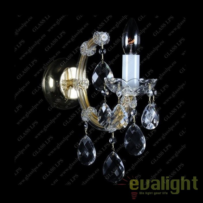Aplica de perete Maria Theresa cu 1 brat, cristal Bohemia N24 001/01/1, Aplice Cristal Bohemia, Corpuri de iluminat, lustre, aplice, veioze, lampadare, plafoniere. Mobilier si decoratiuni, oglinzi, scaune, fotolii. Oferte speciale iluminat interior si exterior. Livram in toata tara.  a