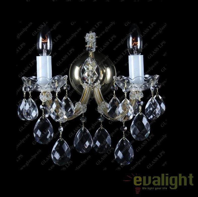 Aplica de perete Maria Theresa cu 2 brate, cristal Bohemia N24 001/02/1, Aplice Cristal Bohemia, Corpuri de iluminat, lustre, aplice, veioze, lampadare, plafoniere. Mobilier si decoratiuni, oglinzi, scaune, fotolii. Oferte speciale iluminat interior si exterior. Livram in toata tara.  a