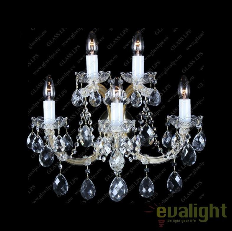 Aplica de perete Maria Theresa cu 5 brate, cristal Bohemia N24 001/05/1, Aplice Cristal Bohemia, Corpuri de iluminat, lustre, aplice, veioze, lampadare, plafoniere. Mobilier si decoratiuni, oglinzi, scaune, fotolii. Oferte speciale iluminat interior si exterior. Livram in toata tara.  a