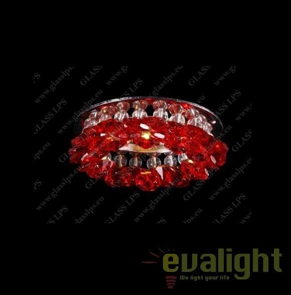 Spot tavan fals cristal Bohemia diam.10cm, L17 560/01/6 ruby, 4-O; Ni, Spoturi tavan fals cristal, Corpuri de iluminat, lustre, aplice, veioze, lampadare, plafoniere. Mobilier si decoratiuni, oglinzi, scaune, fotolii. Oferte speciale iluminat interior si exterior. Livram in toata tara.  a