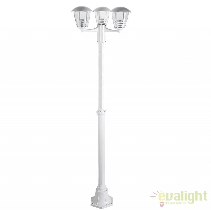 Stalp de exterior clasic alb cu 3 brate, inaltime 190cm, IP44 Marseille 8645 RX, Stalpi de iluminat exterior mari, Corpuri de iluminat, lustre, aplice a