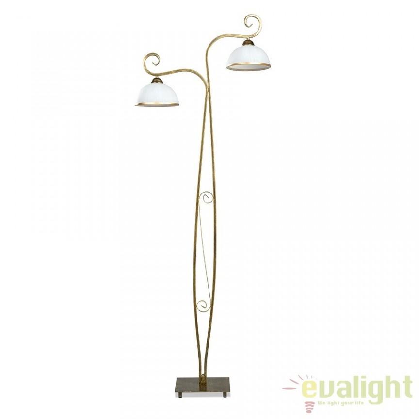 Lampadar, lampa de podea clasica cu 2 brate, WIVARA LP2 GOLD 149/LP2 EMB, Lampadare clasice, Corpuri de iluminat, lustre, aplice a