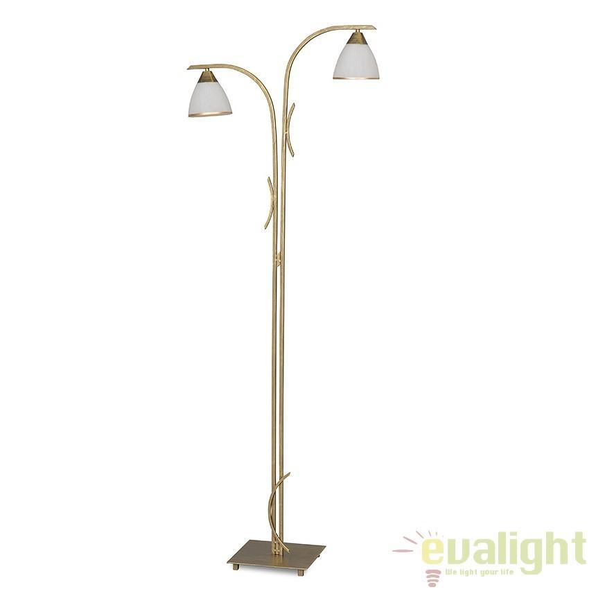 Lampadar, lampa de podea clasica cu 2 brate, TRIBAL LP2 GOLD 157/LP2 EMB, Lampadare clasice, Corpuri de iluminat, lustre, aplice a