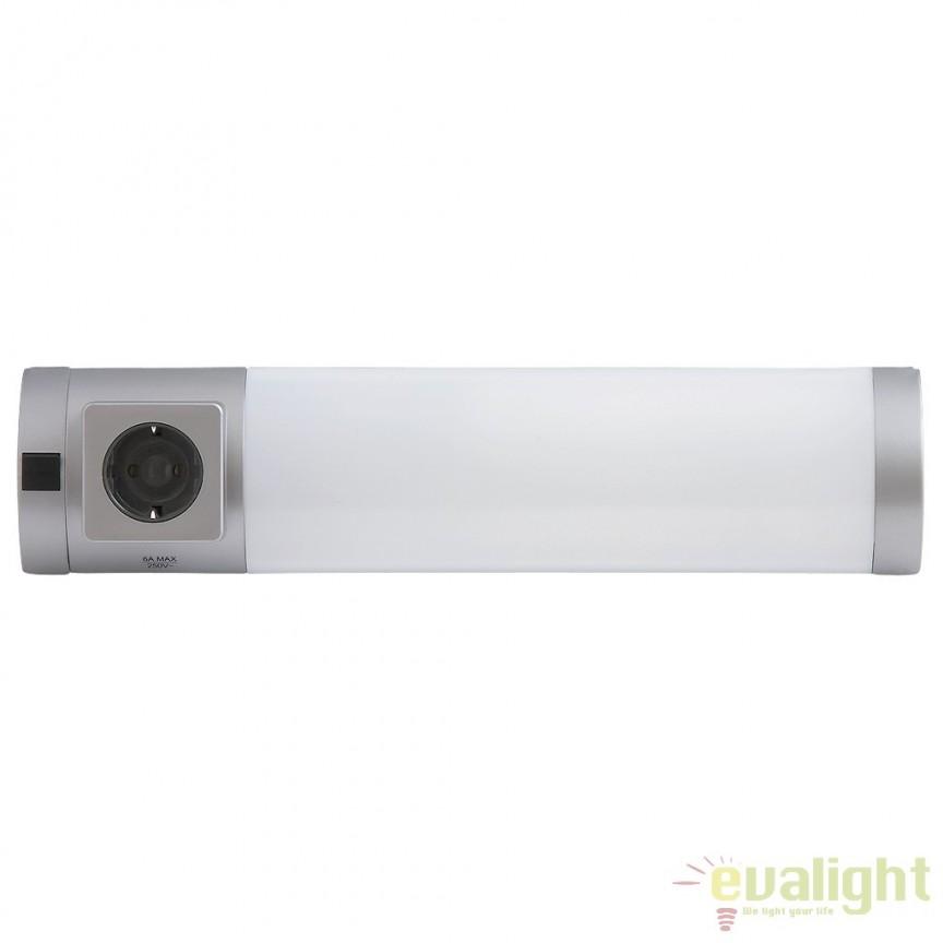Aplica de perete, mobila bucatarie, cu intrerupator si priza, L-38,5cm, Soft 2326 RX , Iluminat tehnic pentru scafe, bucatarie, Corpuri de iluminat, lustre, aplice a