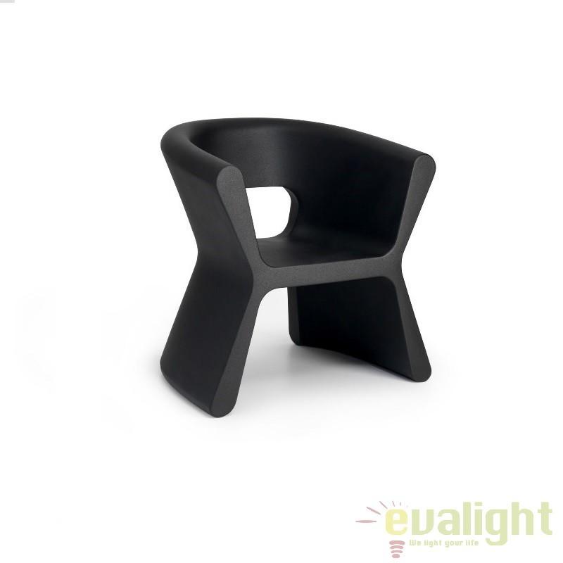 Scaun design modern, exterior, interior, PAL ARMCHAIR 51005-negru Vondom, Scaune dining , Corpuri de iluminat, lustre, aplice a