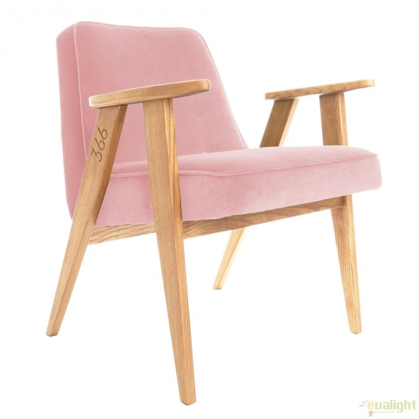 Scaun, Fotoliu Vintage Style Powder Pink Velvet 366 Concept, Fotolii - Fotolii extensibile, Corpuri de iluminat, lustre, aplice, veioze, lampadare, plafoniere. Mobilier si decoratiuni, oglinzi, scaune, fotolii. Oferte speciale iluminat interior si exterior. Livram in toata tara.  a
