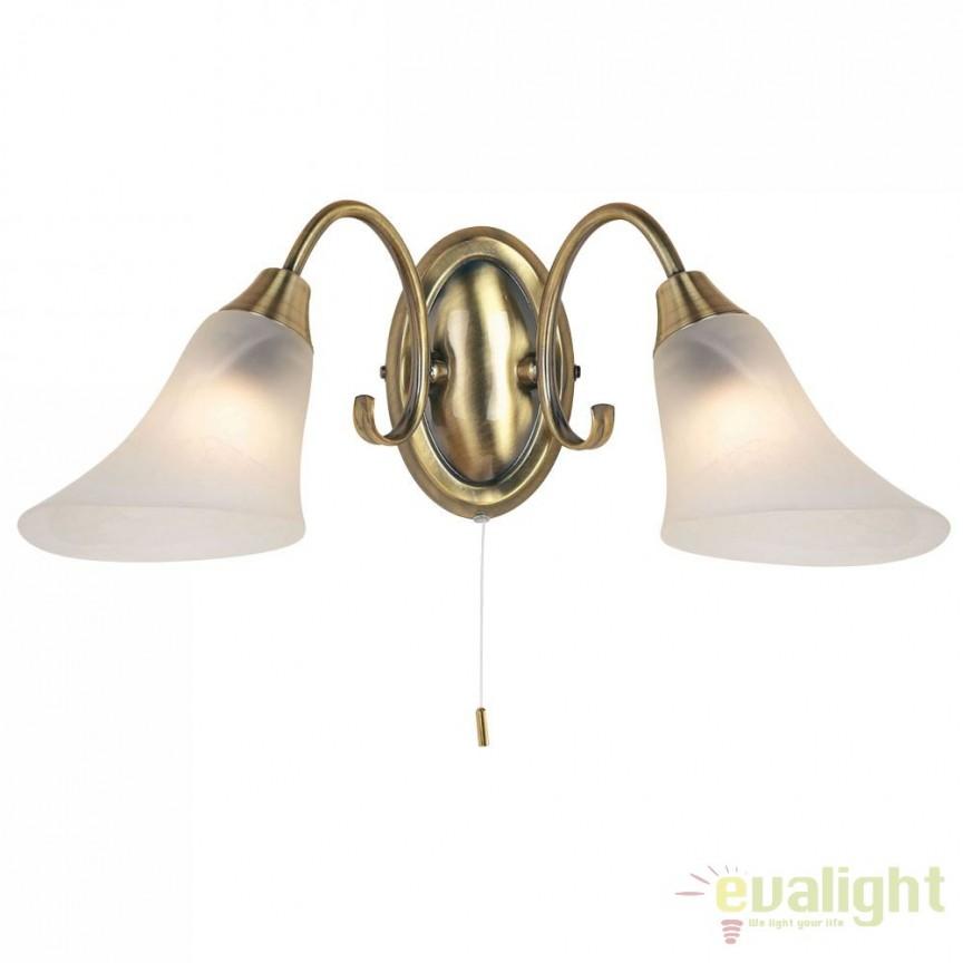 Aplica clasica cu 2 brate antique brass Hardwick 144-2AN EN, Aplice de perete clasice, Corpuri de iluminat, lustre, aplice a