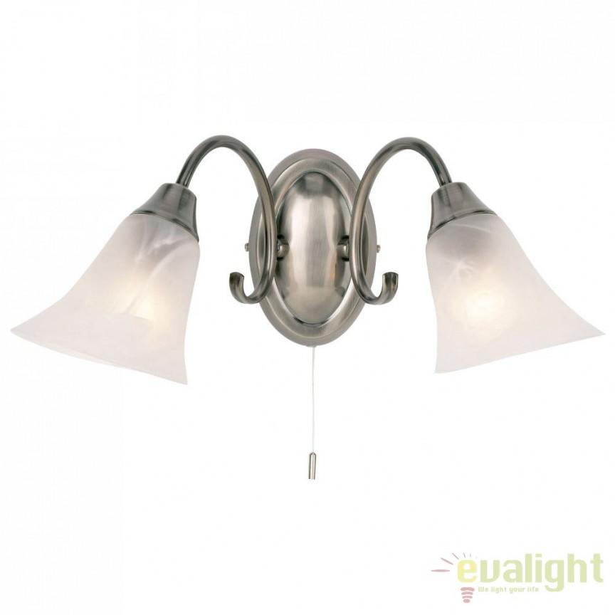 Aplica clasica cu 2 brate antique silver Hardwick 144-2AS EN, Aplice de perete clasice, Corpuri de iluminat, lustre, aplice a