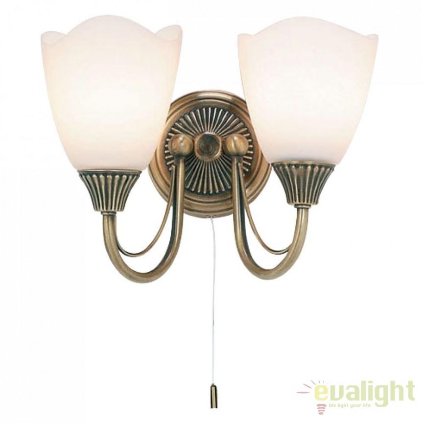 Aplica de perete clasica cu 2 brate Haughton 601-2AN EN, Aplice de perete clasice, Corpuri de iluminat, lustre, aplice a