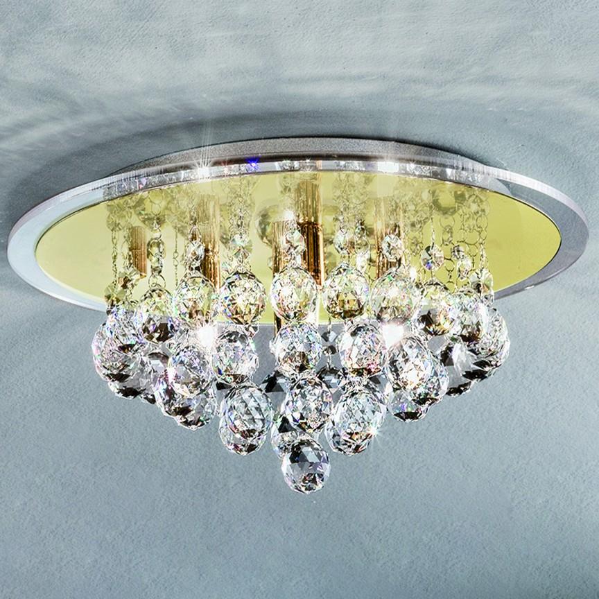 Plafonier cu cristale diametru 38cm Judith DLU38OR54 GOLD, Lustre aplicate, Plafoniere clasice, Corpuri de iluminat, lustre, aplice a