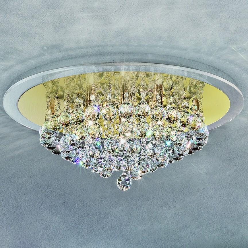 Plafonier cu cristale diametru 50cm Judith DLU50OR54 GOLD, Lustre aplicate, Plafoniere clasice, Corpuri de iluminat, lustre, aplice a