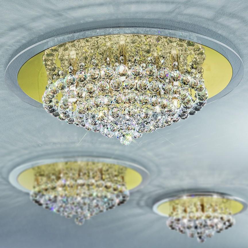 Plafonier cu cristale diametru 62cm Judith DLU62OR54 GOLD, Lustre aplicate, Plafoniere clasice, Corpuri de iluminat, lustre, aplice a