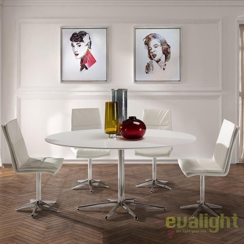 Masa moderna alba diam.170cm, ATLANTA 817024, Mese dining, Corpuri de iluminat, lustre, aplice, veioze, lampadare, plafoniere. Mobilier si decoratiuni, oglinzi, scaune, fotolii. Oferte speciale iluminat interior si exterior. Livram in toata tara.  a